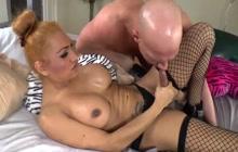 Busty blonde ladyboy seduces a guy